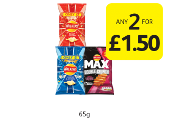 Walkers Crisps, Max Double Crunch - Any 2 for £1.50 at Londis