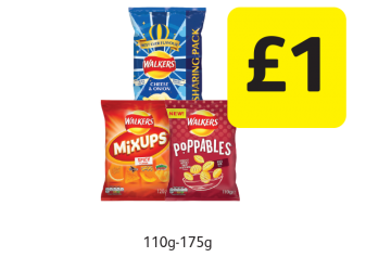 Walkers Crisps Cheese & Onion, Poppables, Mix Ups - £1 at Londis