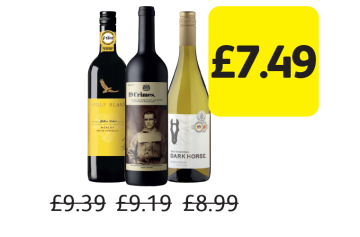 EASTER OFFERS: Wolf Blass Yellow Label Merlot, 19 Crimes Red, Dark Horse Chardonnay, Was £9.39, £9.19, £8.99 - Now only £7.49 at Londis