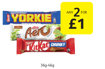 Yorkie Milk, Aero Peppermint, Kit Kat Chunky - Any 2 for £1 at Londis