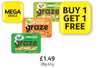 MEGA DEALS: Graze Veggie Protein Power, Punchy Protein Power, Smoky Barbecue Crunch, £1.49 - Buy 1 Get 1 Free at Londis