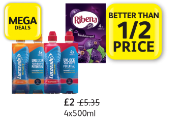 MEGA DEALS: Lucozade Sport Orange, Raspberry, Ribena, Was £5.35, Now only £2 - Better Than 1/2 Price at Londis