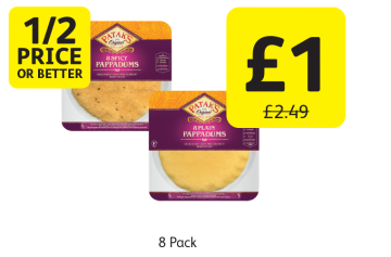 1/2 PRICE OR BETTER: Pataks Pappadums Plain, Spicy, Was £2.49 - Now only £1 at Londis