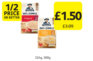 1/2 PRICE OR BETTER: Quaker Oat So Simple, Was £3.09 - Now only £1.50 at Londis