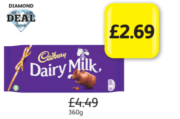 DIAMOND DEAL: Cadbury Dairy Milk, Was £4.49 - Now Only £2.69 at Londis