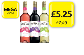 MEGA DEALS: Echo Falls White Zinfandel, Merlot, Chardonnay, McGuigan Black Label Wine, Was £7.49, Now £5.25 at Londis