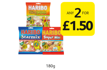 Haribo Starmix, Supermix, Tangfastics - Any 2 for £1.50 at Londis