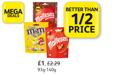 MEGA DEALS: Maltesers, Maltesers Buttons, M & M's Peanut, Was £2.29, Now £1 - Better than 1/2 Price at Londis