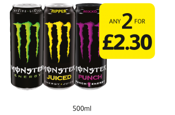 Monster Original, Ripper, Punch - Any 2 for £2.30 at Londis