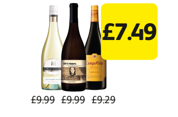 Mud House Sauvignon Blanc, 19 Crimes Chardonnay, Campo Viejo Tempranillo, Garnacha, Was £9.99, £9.99, £9.29 - Now £7.49 at Londis