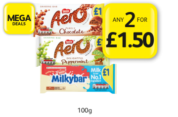 MEGA DEALS: Nestle Aero Milk, Peppermint, Milkybar - Any 2 for £1.50 at Londis