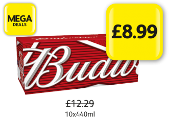 MEGA DEALS: Budweiser, Was £12.29 - Now £8.99 at Londis