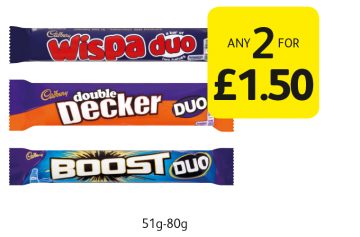 Cadbury Duo Wispa, Boost, Double Decker - Any 2 for £1.50 at Londis