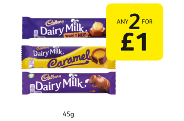 Cadbury Dairy Milk, Wholenut, Caramel - Any 2 for £1 at Londis