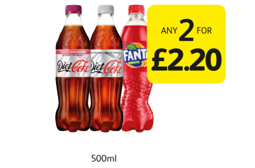 Diet Coke Original, Twisted Strawberry, Fanta - Any 2 for £2.20 at Londis