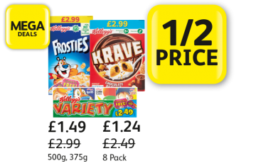 MEGA DEALS: Kellogg's Krave, Frosties, Variety Pack, Was £2.99, £2.99, £2.49, Now £1.49, £1.49, £1.24 - 1/2 Price at Londis
