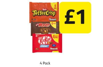 Kit Chunky Original, Toffee Crisp, Rolo - £1 at Londis
