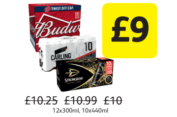 Budweiser, Carling, Strongbow Original, Was £10.25, £10.99, £10 - Now only £9 at Londis