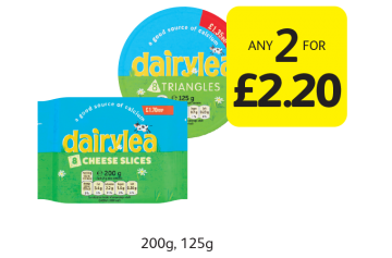 Dairylea Cheese Slices, Triangles - Any 2 for £2.20 at Londis