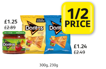 MEGA DEAL: Doritos Dip, Doritos, Was £2.89, £2.49, Now £1.25, £1.24 - 1/2 Price at Londis