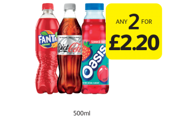 Fanta, Diet Coke, Oasis -  Any 2 for £2.50 at Londis
