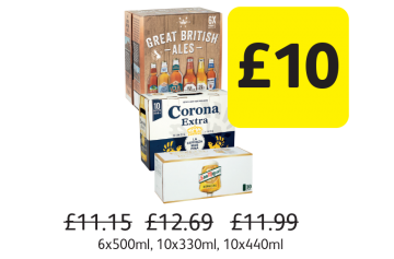 Great British  Ales, Corona Extra, San Miguel, Was £11.15, £12.69, £11.99 - Now only £10 at Londis