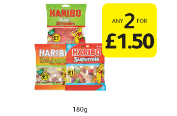 Haribo Tangfastics, Supermix, Giant Strawbs  - Any 2 for £1.50 at Londis