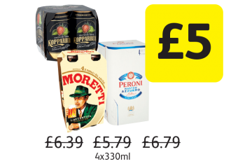 Kopparberg Strawberry & Lime, Birra Moretti, Peroni Nastro Azzurro, Was £6.39, £5.79, £6.79 - Now only £5 at Londis