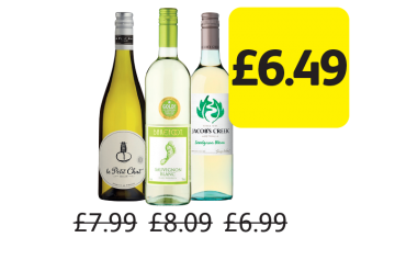 Le Petit Chat, Barefoot Wine, Jacob's Creek, Was £7.99, £8.09, £6.99 - Now only £6.49 at Londis
