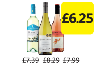 Lindemans Bin, McGuigan Reserve, Yellow Tail, Was £7.39, £8.29, £7.99 - Now only £6.25 at Londis