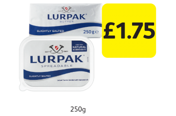 Lurpak Slightly Salted Butter Block, Spreadable  - £1.75 at Londis