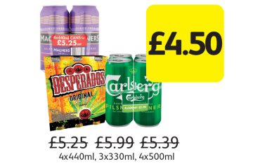 Magners Dark Fruit, Desperados, Carlsberg Pilsner, Was £5.25, £5.99, £5.39 - Now only £4.50 at Londis