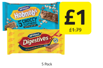 McVitie's Digestives, Hobnobs Slices, Was £1.79 - Now only £1 at Londis