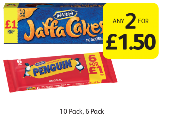 McVitie's Jaffa Cakes, Penguin - Any 2 for £1.50 at Londis
