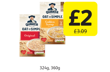 Quaker Oat So Simple, Was £3.09 - Now only £2 at Londis
