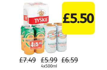 Tyskie Gronie, Holsten Pils, San Miguel, £7.49, £5.99, £6.59 - Now only £5.50 at Londis