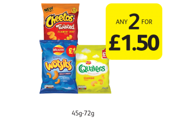 Walkers Wotsits, Quavers, Cheetos Twisted  - Any 2 for £1.50 at Londis