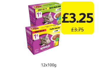 Whiskas 1+ Years Pouches, Was £3.75 - Now only £3.25 at Londis