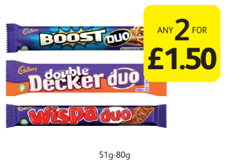 Cadbury Duo  - Any 2 for £1.50 at Londis