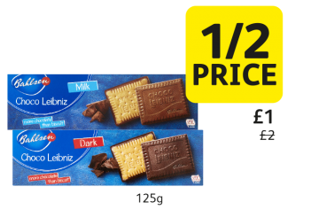 Bahlsen Choco Leibniz Milk, Dark, was £2, now only £1 - 1/2 Price at Londis