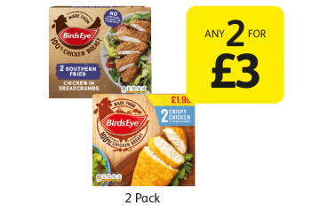 Birds Eye Crispy Chicken, Southern Fried Chicken In Breadcrumbs - Any 2 for £3 at Londis