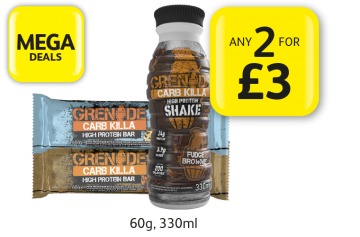 MEGA DEALS: Grenade Carb Killa Protein Bar, Protein Shake - Any 2 for £3 at Londis