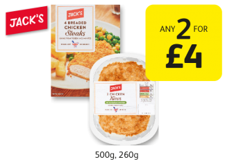 Jack's 4 Breaded Chicken Steaks, 2 Chicken Kievs - Any 2 for £4 at Londis