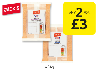 Jack's British 8 Cumberland/Pork sausages - Any 2 for £3 at Londis