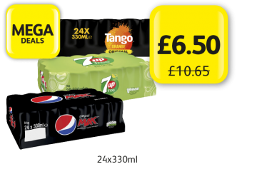 MEGA DEALS: Tango Orange, 7 Up Free, Pepsi Max Original, was £10.65 - Now only £6.50 at Londis