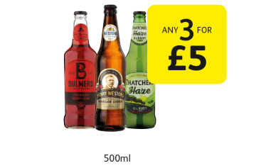 Bulmers  Crushed Red Berries & Lime, Henry Weston's Vintage Cider, Thatchers Somerset Haze - Any 3 for £5 at Londis