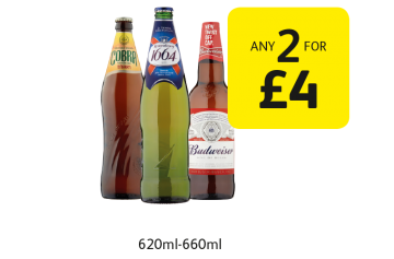 Cobra, Kronenbourg, Budweiser - Any 2 for £4 at Londis