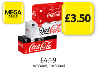 MEGA DEALS: Coca Cola Classic, Diet, Zero,  Was £4.19 - Now £3.50 at Londis