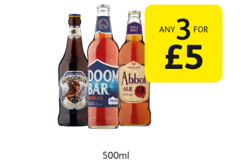 Wychwood Hobgoblin, Sharp's Doombar, Abbot Ale - Any 3 for £5 at Londis