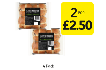 Discover The Taste Hot Cross Buns - 2 for £2.50 at Londis